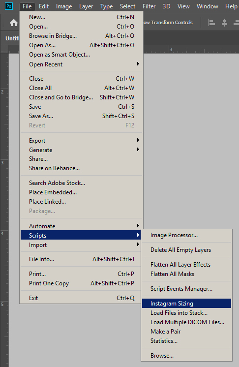 Screenshot of Photoshop showing a script selected under File > Scripts