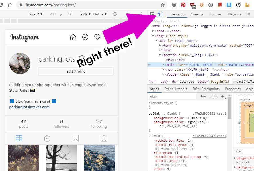 """Screenshot showing the """"toggle device"""" button in Chrome's inspect mode"""